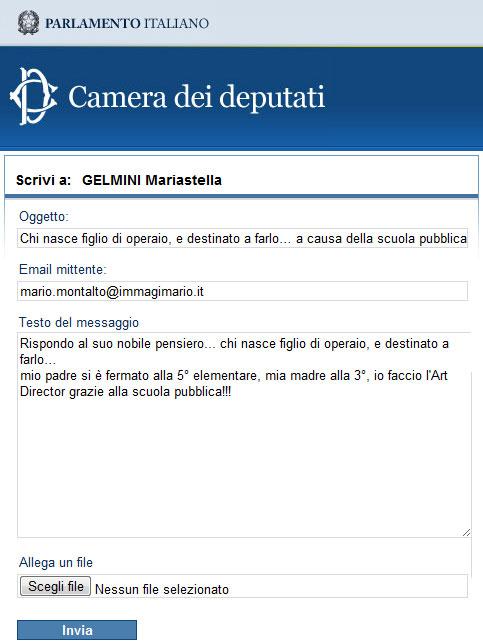 Scrivi a: Mariastella Gelmini